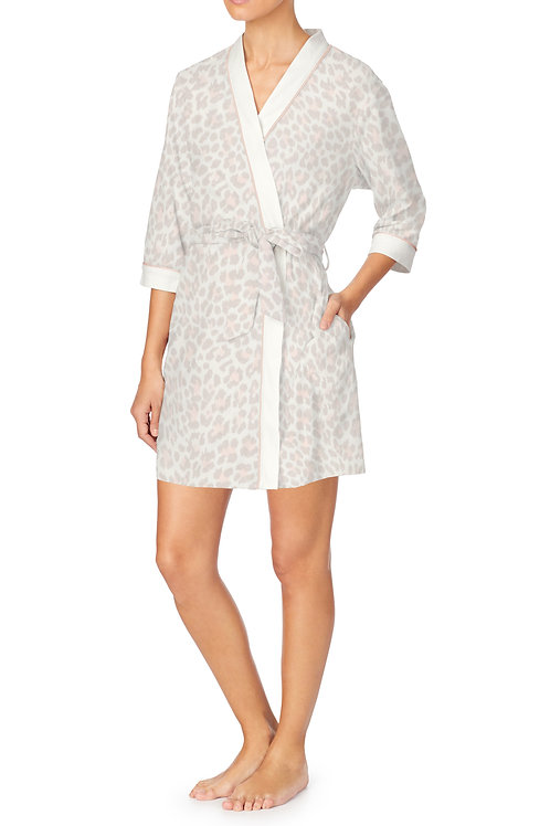 Kate Spade Leopard Printed Micro Terry Short Wrap Robe