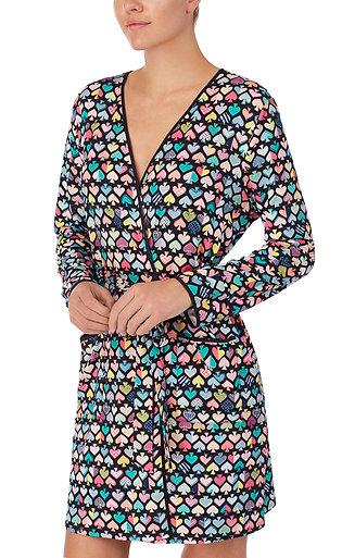 Kate Spade Graffiti Spades Print Jersey Wrap Robe