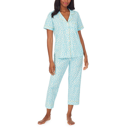 Bedhead Animal Instinct Short Sleeve Classic Stretch Jersey Cropped PJ Set