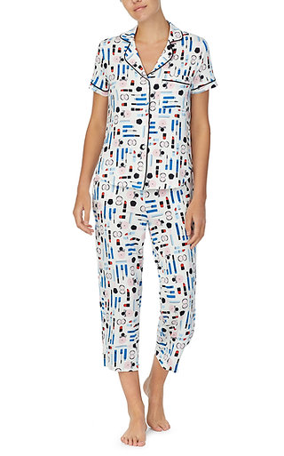 Kate Spade Makeup Box Printed Capri Pajama Set