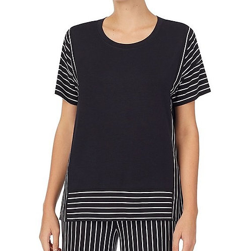 Donna Karan Solid Striped Print Jersey Knit Lounge Top
