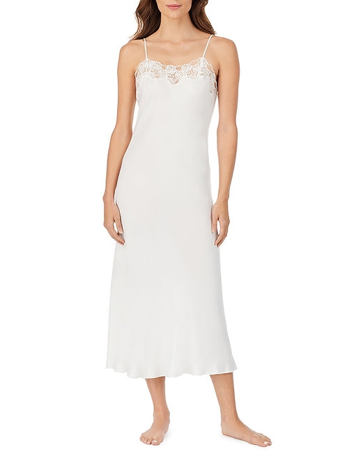 Eileen West Lace Trim Satin Gown