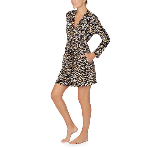 Kate Spade Leopard Printed Sweater Knit Wrap Robe