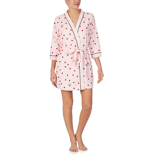 Kate Spade Ladies First Printed Micro Terry Short Wrap Robe