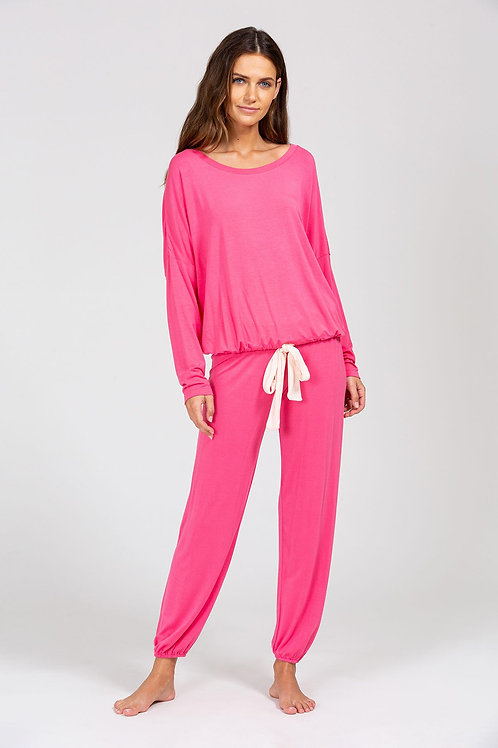 Eberjey Gisele Modal Slouchy Set- Bright Pink/ Bellini