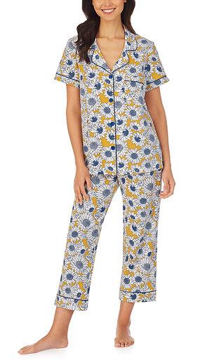 Bedhead Garden Sunflowers Short Sleeve Classic Stretch Jersey Cropped PJ Set