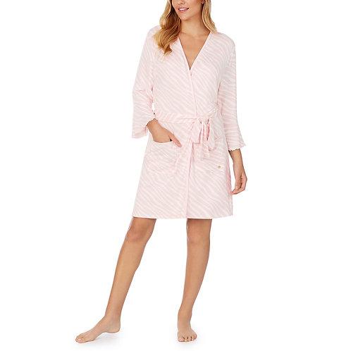 Kate Spade French Terry Pink Zebra Print Wrap Robe
