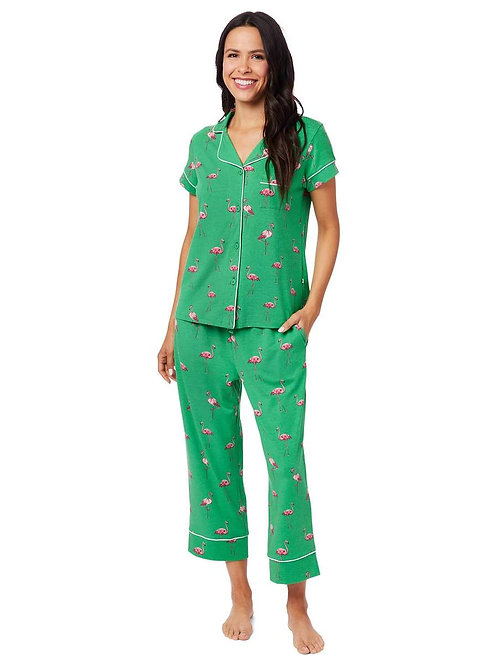 The Cat's Pajamas Flamazing Pima Knit Capri Pajama Set