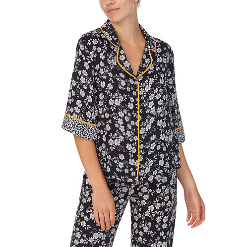 Room Service Washed Satin 3/4 Sleep Pajama Top