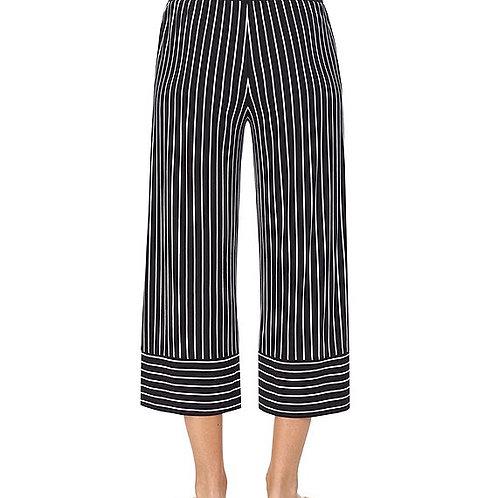 Donna Karan Striped Print Jersey Knit Capri Lounge Pants