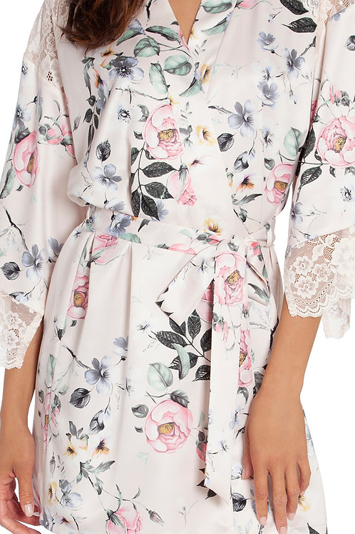 In Bloom Winding Road Floral Print Matte Satin Short Wrap Robe