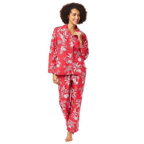 The Cat's Pajamas Red Palms Luxe Pima Cotton Pajama