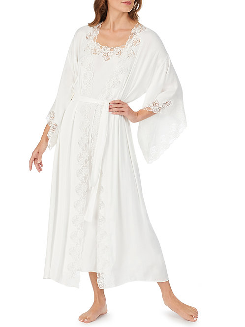 Eileen West Lace Trim Satin Robe