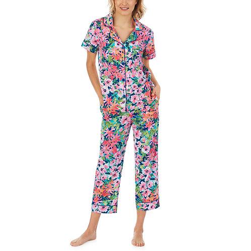 Bedhead Garden Blooms Short Sleeve Classic Woven Cotton Cropped PJ Set