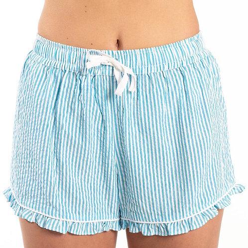 Bella Il Fiore Seersucker Sleep Shorts -Turquoise