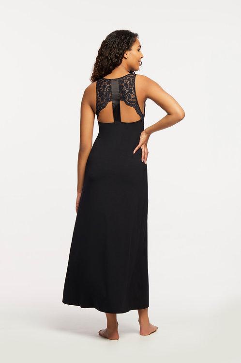 Fleur't Front Slit Lace Back Gown