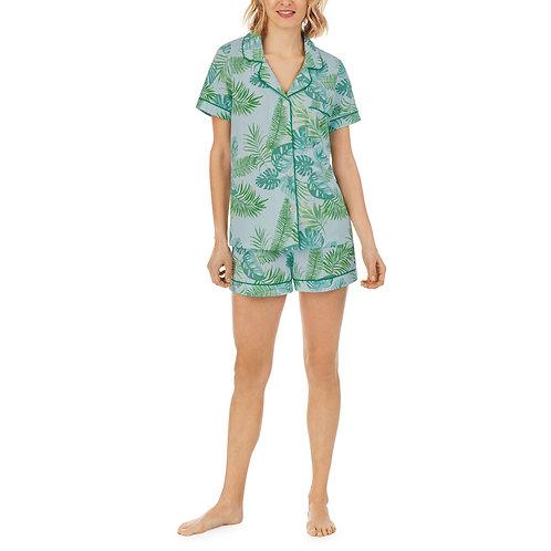 Bedhead Island Palm Short Sleeve Classic Shorty Stretch Jersey PJ Set