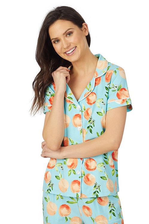 Bedhead Peach Blossom Short Sleeve Classic Cropped Stretch Jersey PJ Set