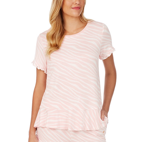 Kate Spade French Terry Pink Snake Short-Sleeve Lounge Top