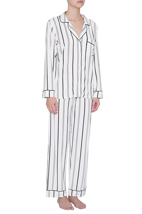 Eberjey Sleep Chic Long PJ Set- Winter Stripes/Navy Heather