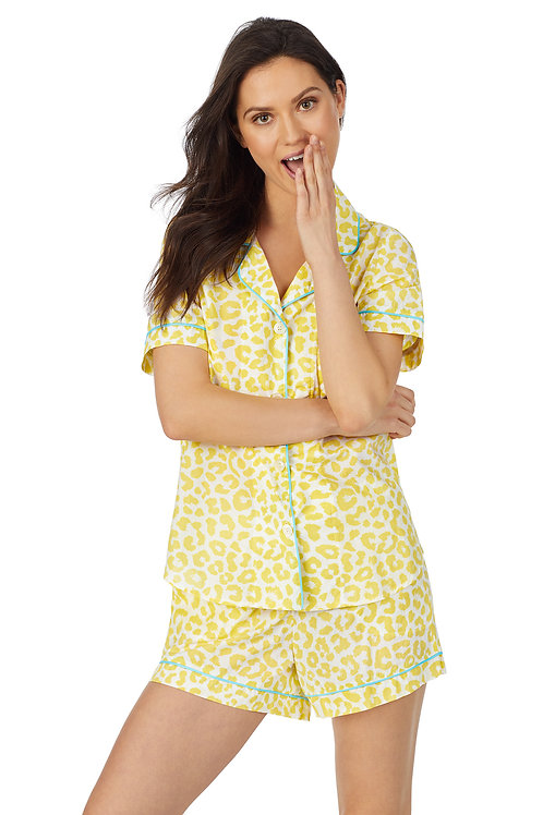 Bedhead Animal Instinct Short Sleeve Classic Shorty Woven Sateen PJ Se