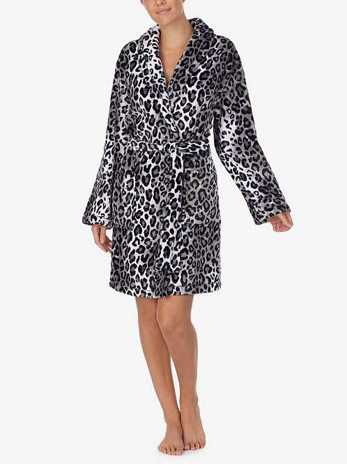 DKNY White Leopard Plush Cozy Wrap Robe