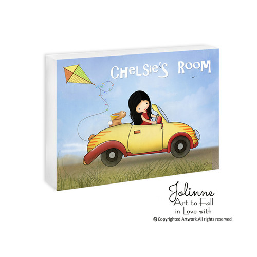My Yellow Car   Girls Personalized Door Sign. Personalized door signs for kids room or nursery by Jolinne