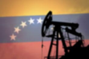Oil pump on background of flag of Venezu