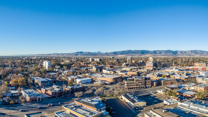 Fort Collins downtown aerial panorama,
