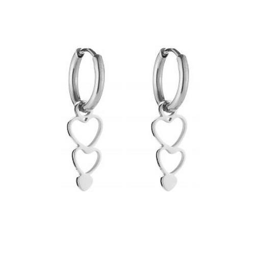 triple heart earring