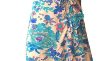 "Long Wrap Dress ""Bloom"" - Cream - SKU2215"