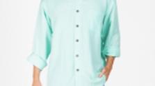 Mens Hemp Rayon Relax Fit Long Sleeve Shirt Aqua - S12