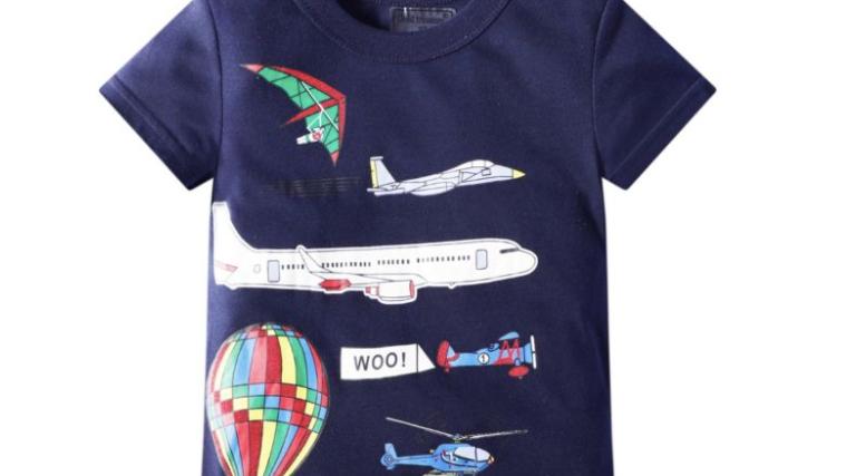 Hot Air Balloon Aircraft Print T-shirt - SKU200624343