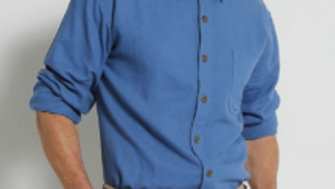 Mens Hemp Rayon Relax Fit Long Sleeve Shirt-Blue - S12
