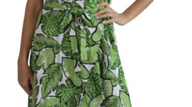 Cupid Dress - Green Leaves