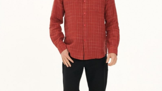 Men's 100% Hemp Check Shirt-Red - MWT2004