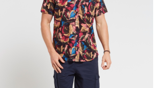 Men's Hemp Cotton Print Short Sleeve Shirt-Red