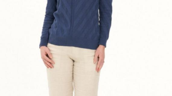 Ladies' Hemp Cotton Knit Polo-Navy - LWT2033
