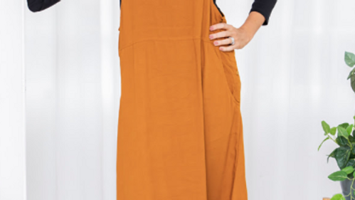 Freez Apron Dress - Tan