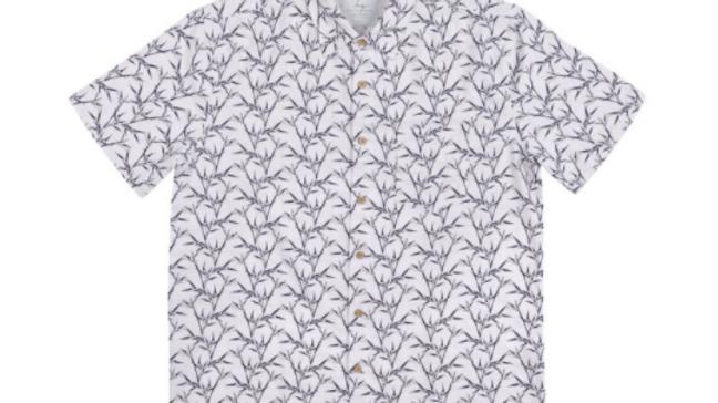 Men's Short Sleeve Bamboo Shirt – White Bamboo Print