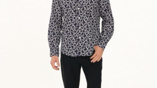 Men's Hemp Cotton Print Long Sleeve Shirt-Navy - MWT2006