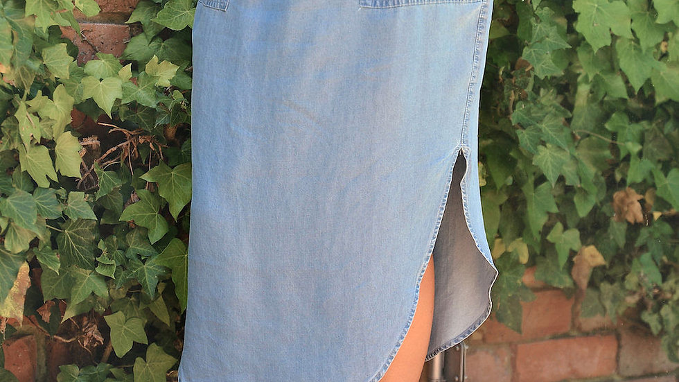 Chambray Split Side Skirt - SN2258