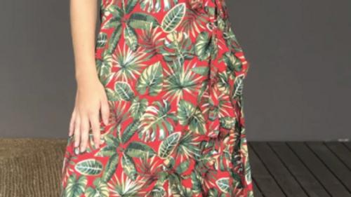 "Long Wrap Dress ""Forrest"" - SKU2215"