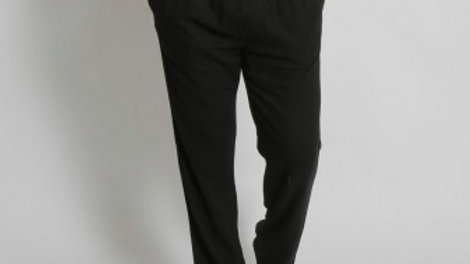 MEN'S HEMP BAMBOO ELASTIC WAIST BEACH PANTS BLACK - MSB196
