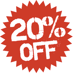 20% OFF ALL STOCK