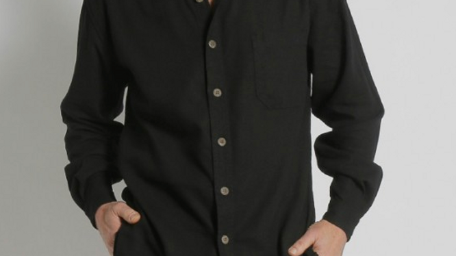 MENS HEMP RAYON RELAX FIT LONG SLEEVE SHIRT BLACK - S12