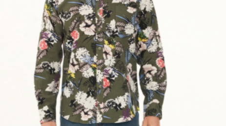 Men's Hemp Cotton Floral Long Sleeve Shirt - MWT2008