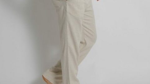MEN'S HEMP BAMBOO ELASTIC WAIST BEACH PANTS NATURAL - MSB196