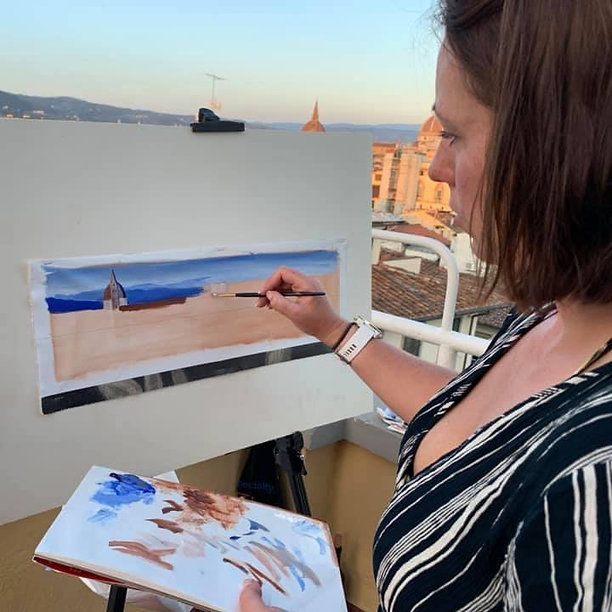 Susannah Painting on a Florence Rooftop