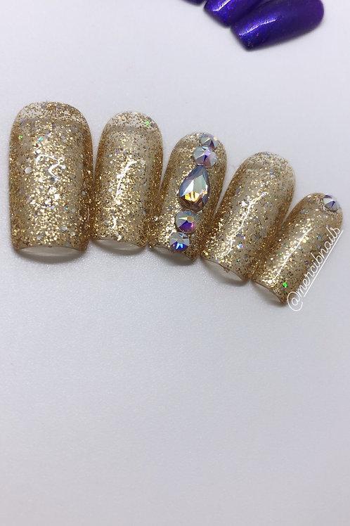 Golden Night Press On Nails
